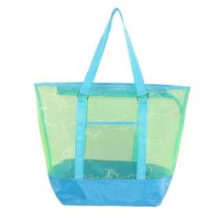 New CTM Women's Zip Top Tote Bag - Blue / Black
