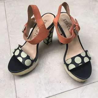 Staccato Polkadot Leather Heels
