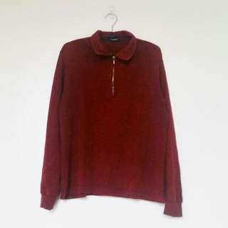Maroon Zip-up Long Sleeved Polo Shirt