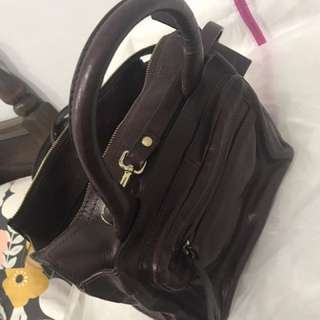 Zara Burgundy Leather Mini Satchel