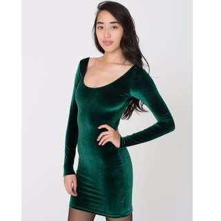 American Apparel Velvet Dress (Forest Green)