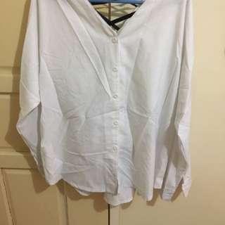 white loose blouse