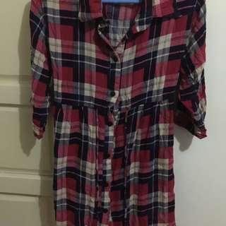 long checkered blouse