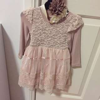 Mini Bling Brand Size 0 Lace Dress With Headband