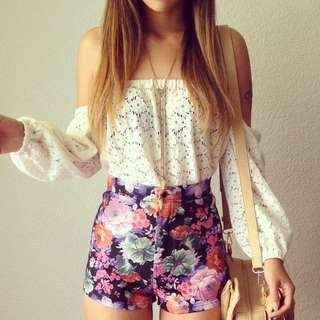 Floral Highwaist Shorts