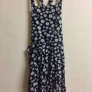 Black Floral Jumper Dress