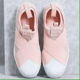 Adidas Superstar Slip-on 粉色繃帶鞋