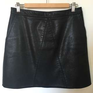 Zara Black Mini Skirt (leather Imitation) (L)