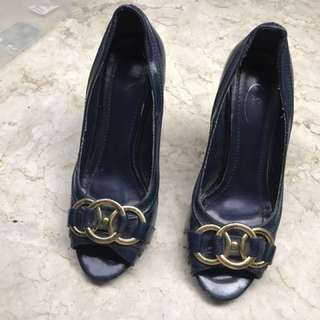 Blue Patent Leather Stilettos With Gold Chain Accent