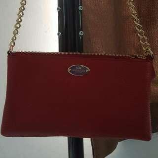 COACH紅色細斜孭袋