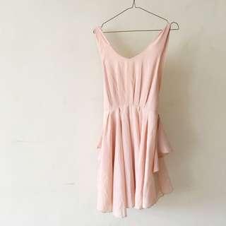 Pazzo 極美女神感淡粉紅色 無袖洋裝 M號