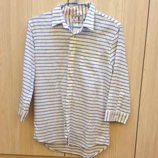 藍白條紋棉麻襯衫