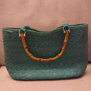 藍色籐籃袋