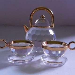 Swarovski crystal tea set 迷你水晶茶壺茶杯擺設