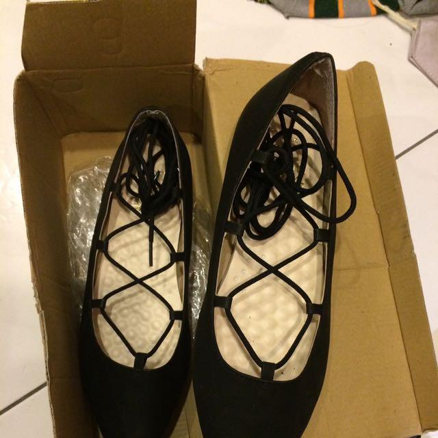 綁帶平底鞋23.5(免運)