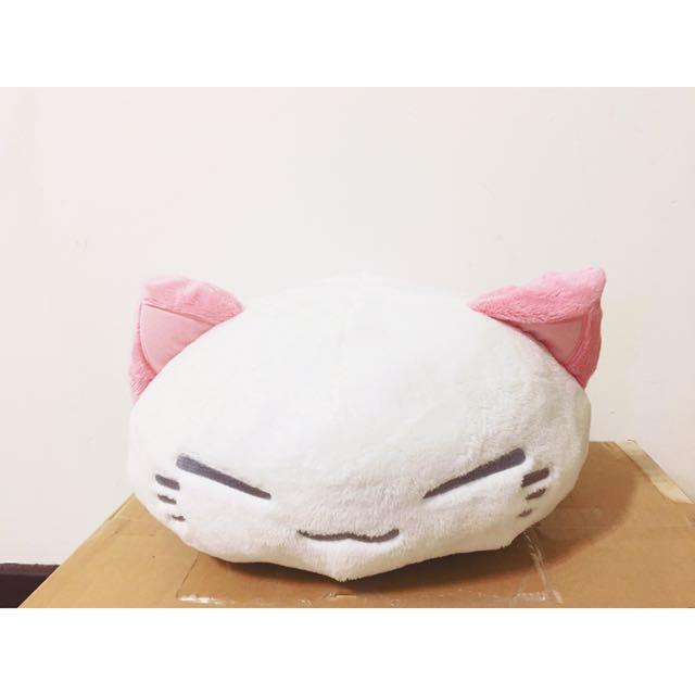《日本空運正版》限量超可愛櫻花紋身白貓抱枕墊背