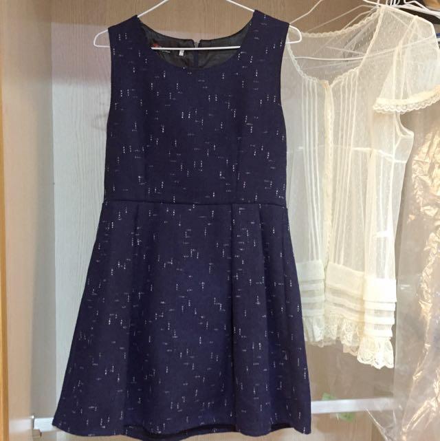 🎀 全新出清 秋冬氣質深藍厚毛呢紋高腰洋裝背心裙