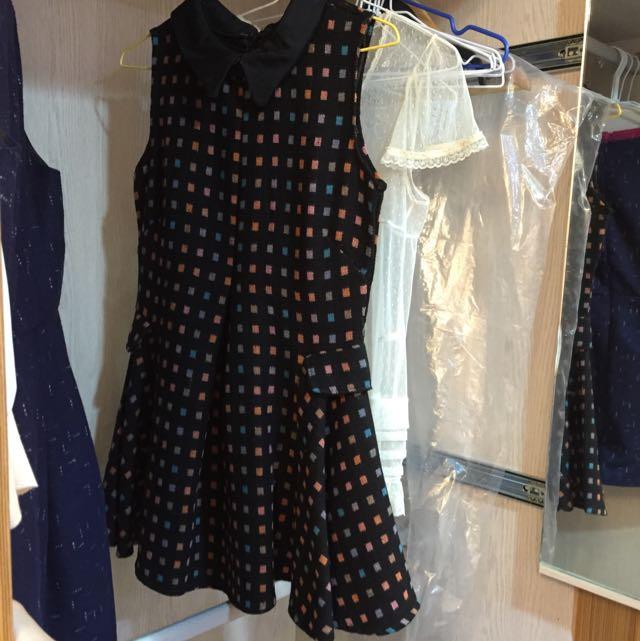 🎀 全新出清 秋冬氣質翻領彩色方塊厚毛呢紋收腰洋裝背心裙