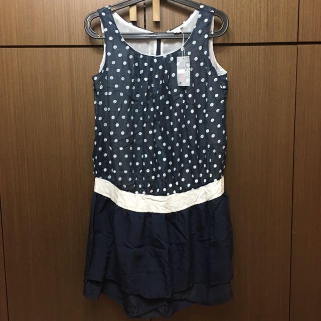 全新👉🏻 深藍無袖點點洋裝
