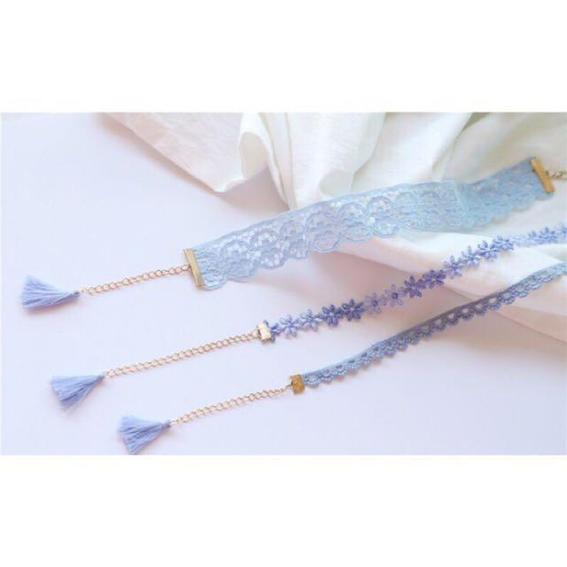 韓國 簡約粉藍蕾絲漸層花朵頸鍊 choker