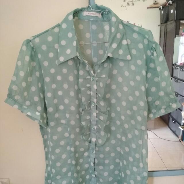 Accent Soft Green Shirt -  Transparant - Polkadot - Tosca