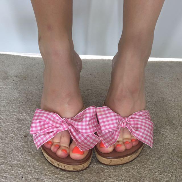 Anne Klein Pink Bow Cork Wedge