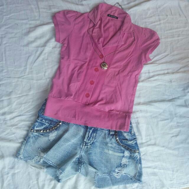 Atasan Kaos Pinkish