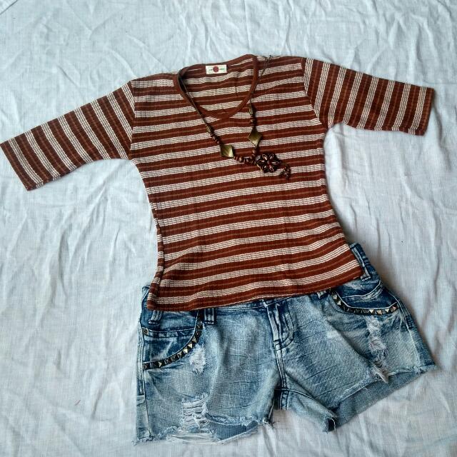 Atasan Kaos Stripe Choco