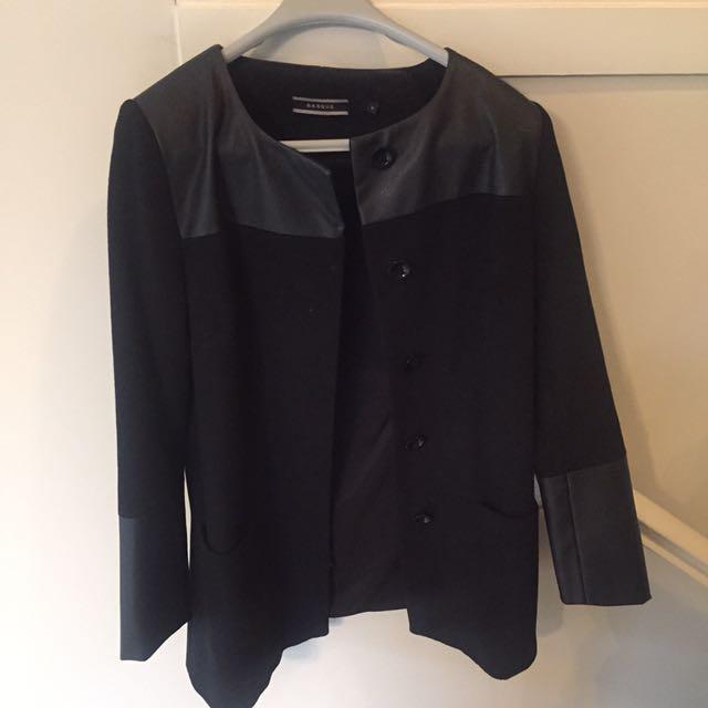 Basque Black Collarless Long Line Wool Coat
