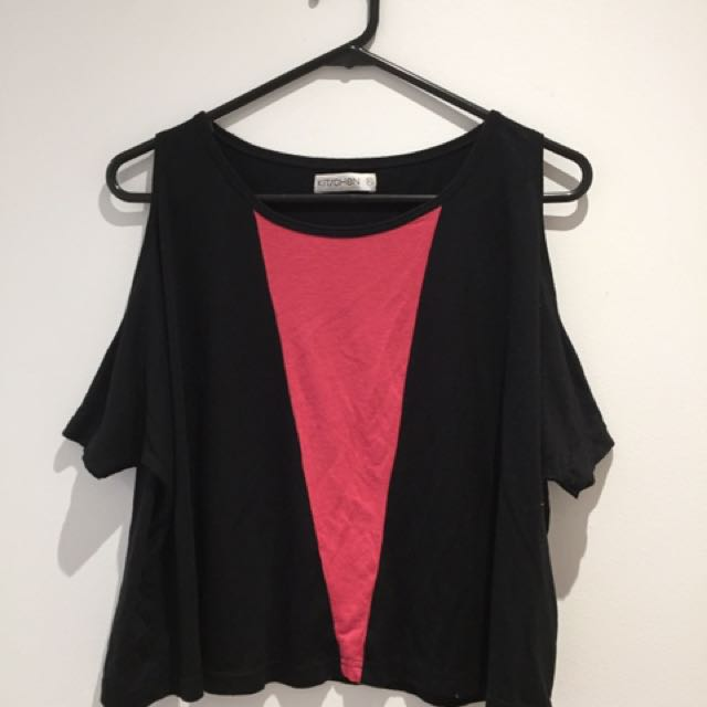 Black and Red Cut Out Shoulder Top