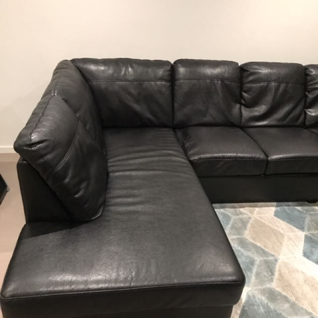 Black Leather Corner Chaise