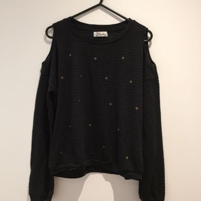 Black Long Sleeved Cut Out  Shoulder Shirt