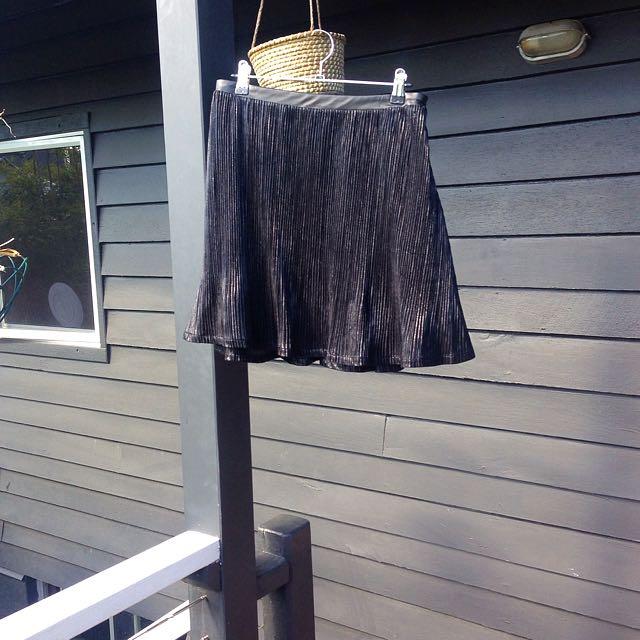 Black Shimmer Pleated Skirt