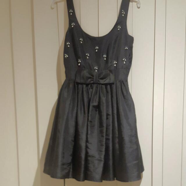 Black Silk Portmans Dress Size 8