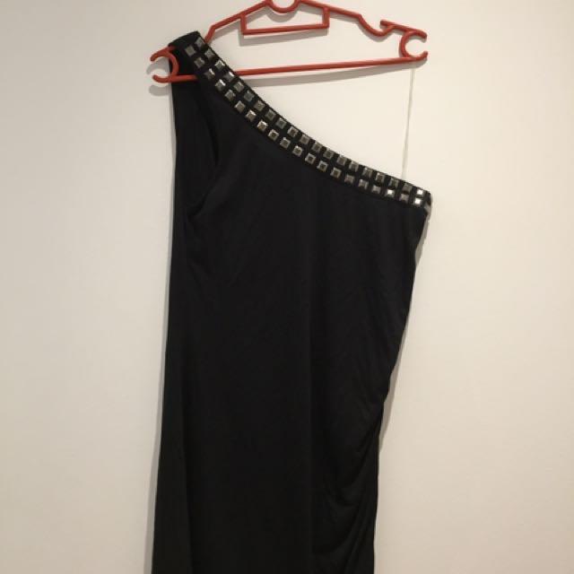 Black Studded One Sleeved Dress