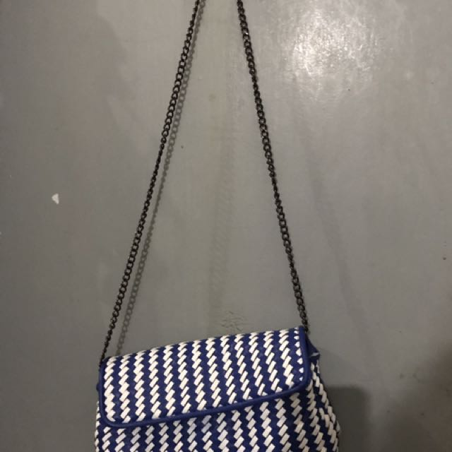 Blue And White Sling Bag / Clutch