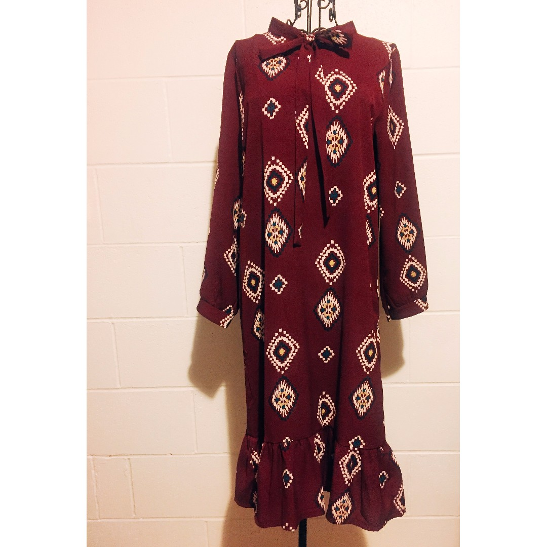 Bohemian Ruffle Hem Dress/ Burgandy
