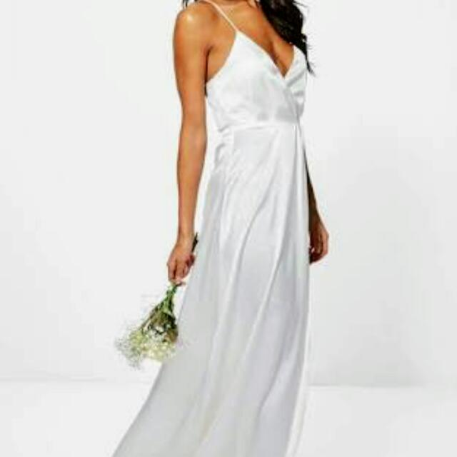 Boutique Ondine Satin Strappy Wrap Maxi Dress