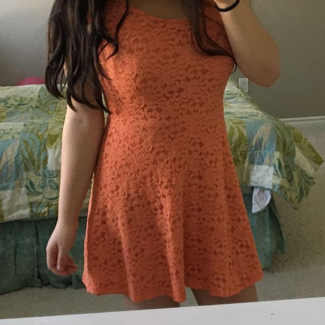 BNWT $110 BlueS LA Orange Lace Skater Dress