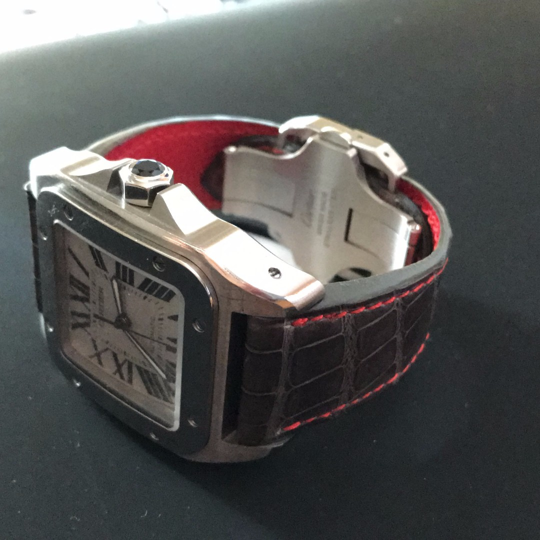 Cartier Santos 100 XL grey alligator strap (STRAP ONLY)