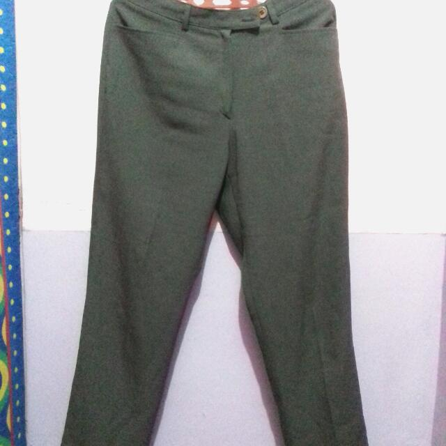Celana Bahan Ijo Army Size M