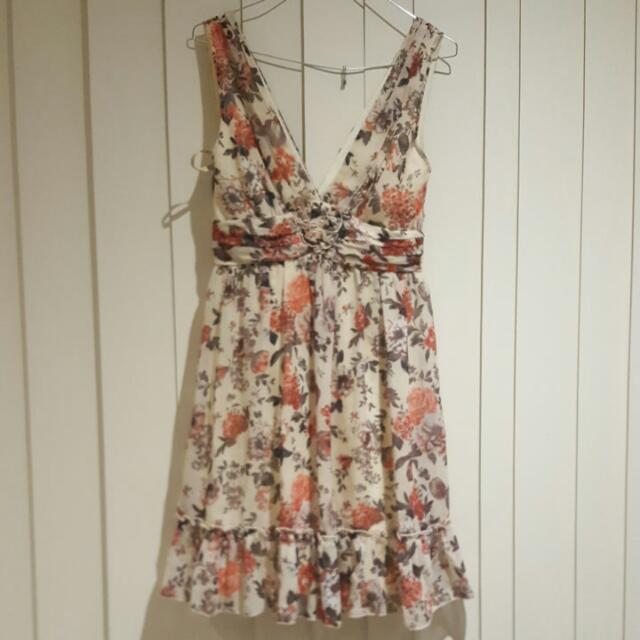 Coral, Cream And Green Floral Dress Size 8