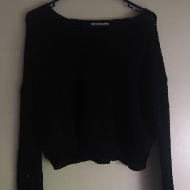 Cropped Knit Black Sweater