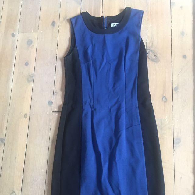 DKNY Black And Royal Blue Work Dress