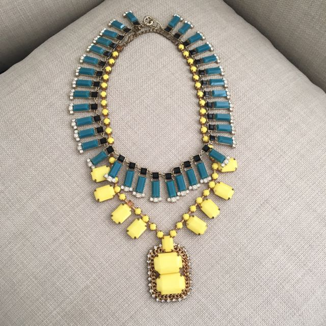 Double Necklace Blue And Yellow