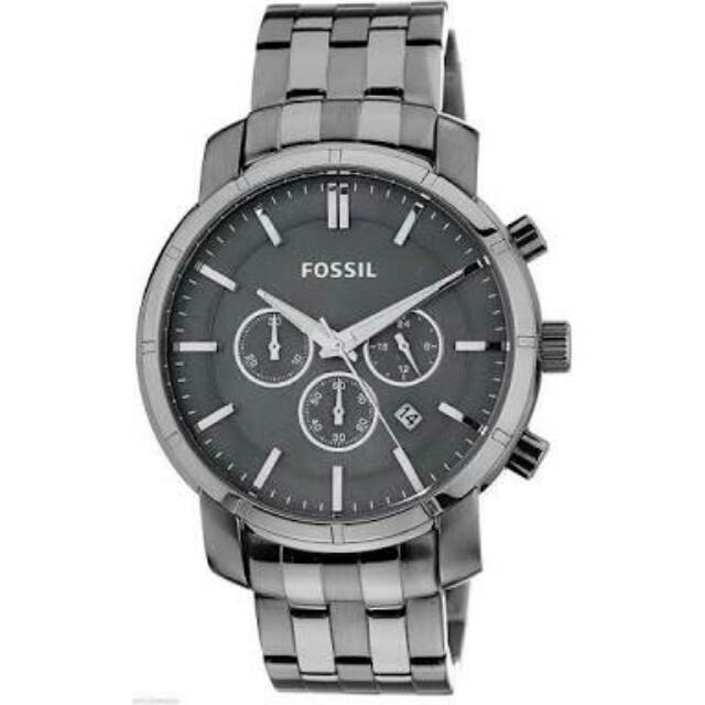 Fossil Chronograph Date Gray Dial Gray Stainless Steel Men's Watch New