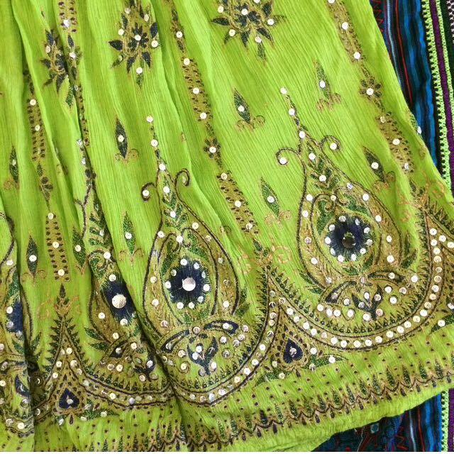 further 40% off- bohemian green maxi skirt