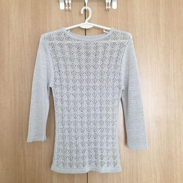 Gray 3/4 Knit