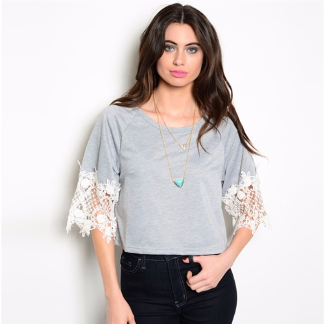Grey + Lacy White Sleeves T-Shirt (Available in Small, Medium, Large)