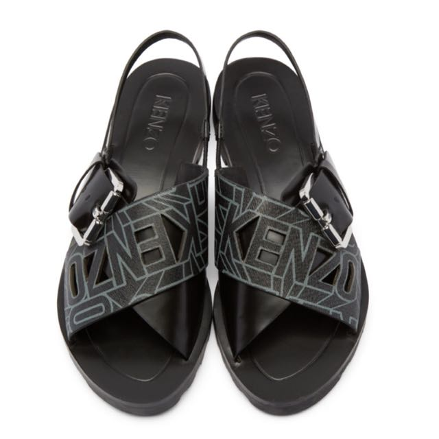[REPRICE] KENZO LEATHER FLYING LOGO RISO SANDALS
